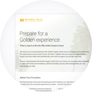 Beverly Hills Golden Surgery Center Patient Prep Form