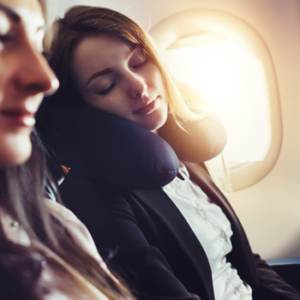 Patient napping on airplane